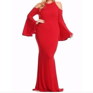 Red Plus Bell sleeve mermaid cut shoulder dress